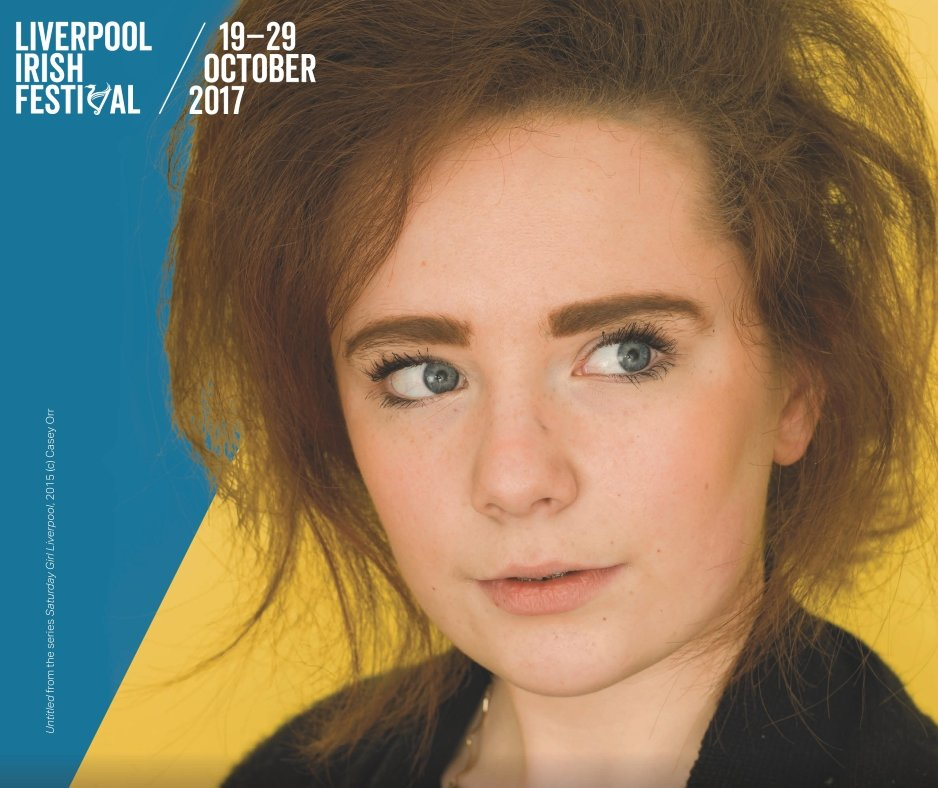 Liverpool Irish Festival brochure cover and poster image, ft. Casey Orr's Saturday Girl Liverpool image
